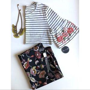 Mic & Jax | striped bell sleeve floral detail top